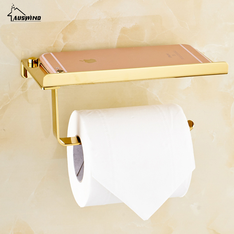 Gold Toilet Paper Holder Stainless Steel Resistant Tissue Paper Rack With Phone Holder Polish finis bathroom