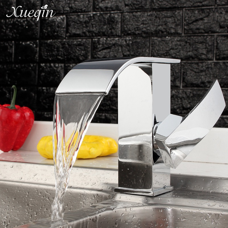 Xueqin Single Handle Bathroom Sink Basin Waterfall Water Faucet Tap Chrome Finish Brass Kitchen Cold Faucets цена 2017