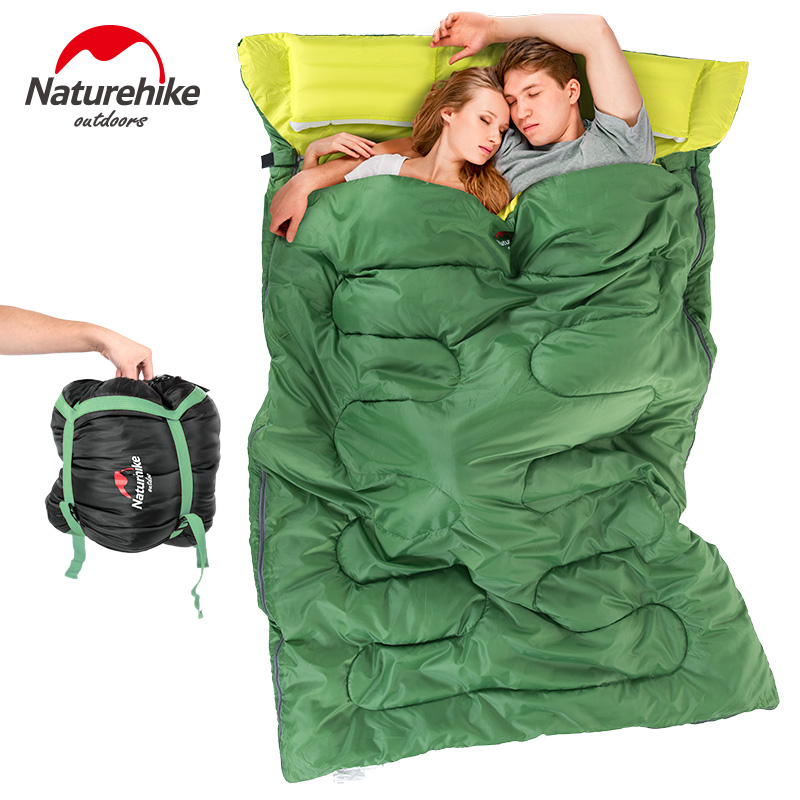 Naturehike Double Sleeping Bag With Pillow Outdoor Camping Portable Envelope Spring Autumn 2 Persons Cotton Sleeping