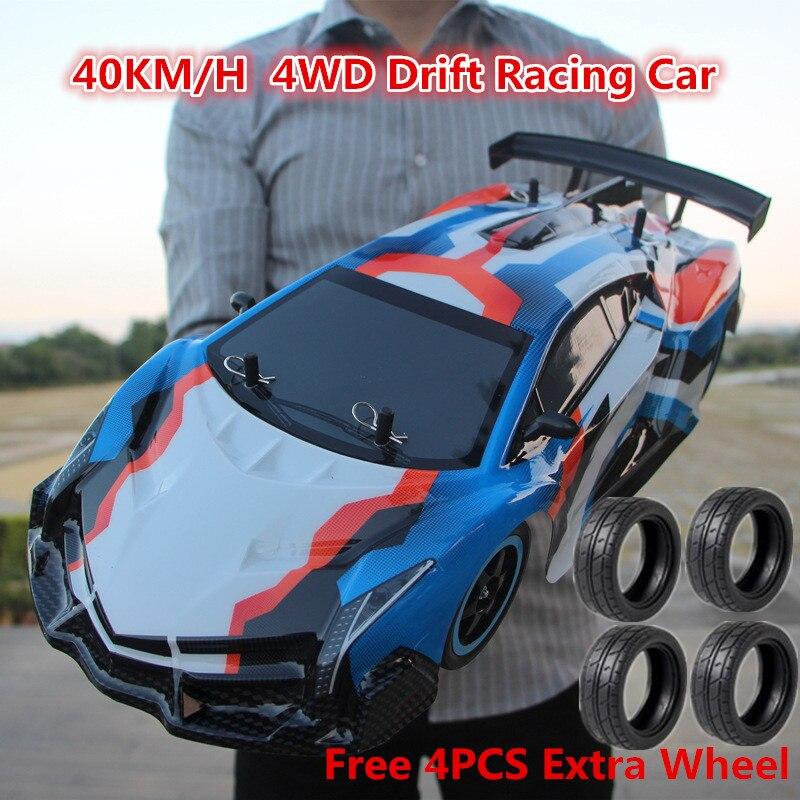 2018 1:10 полная шкала большой трюк гонки Дрифт RC автомобиль детские игрушки 4WD14 2,4 ГГц 4WD диск 40 км/ч RC автомобиль дистанционного Управление игру...