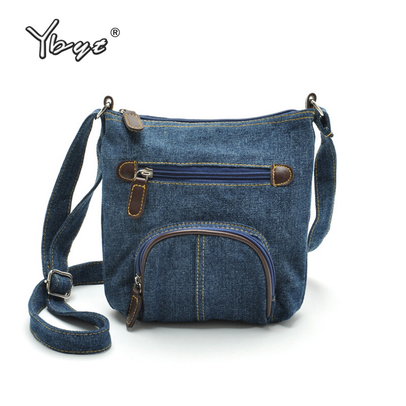 YBYT brand 2018 new casual blue denim handbag hotsale women shopping coin purse pack lady joker shoulder messenger crossbody bag denim vintage quilted across bag women s blue jean plaid stylish brand fashion flap chain crossbody shoulder bag purse handbag