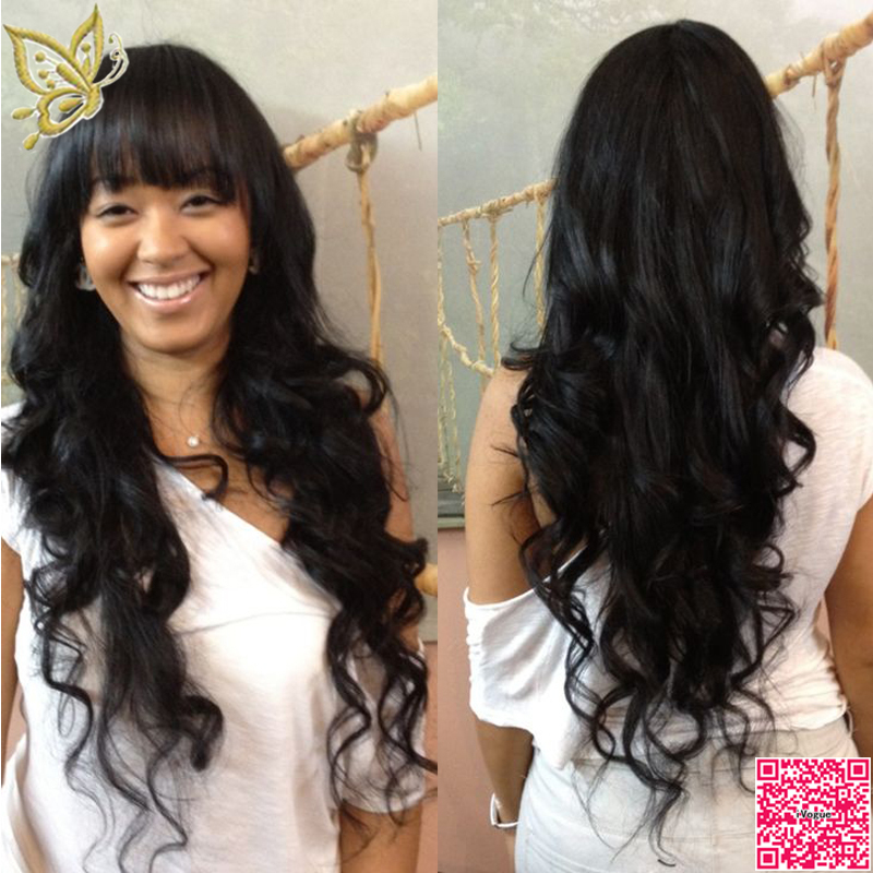 Best Long Full Lace Human Hair Wigs With Bangs Virgin
