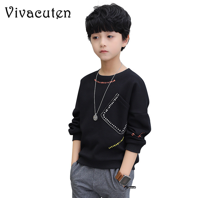 Teenager Boys T-Shirt 2018 Autumn&Spring Brand Kids Full T-Shirt Cute Solid Long Sleeve Sweatshirt Children Clothing Blouse H212