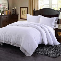 100 Washed Line Wood Coconut White Bedding Set Inlay Grey Border With 1 Duvet Cover 2