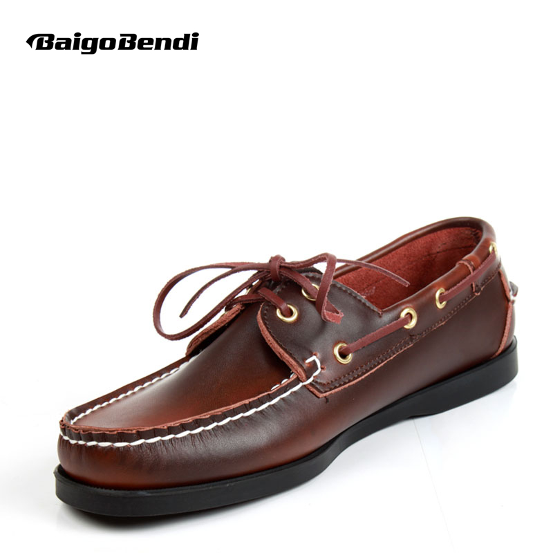 US6-12 Plus Size 45  Genuine Leather Mens SLIP 0N Loafers Casual CAR Shoes Moccasin Men Boat Shoe Tassel Loafer(China)