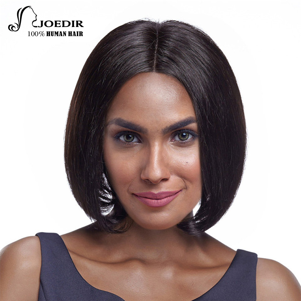 Joedir Lace Front Human Hair Wigs Remy Brazilian Straight Hair Color 1B 10 Inch 116g Short Bob Wigs For Women Free Ship