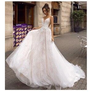 Image 5 - ローリー A ライン背中のウェディングドレス 2019 セクシーなスパゲッティストラップブライダルドレス 3D レース花の妖精ビーチウェディングドレス