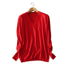 4 colors women's knitting pullover 100% cashmere V-neck long sleeves solid color standard sweater spring and autumn