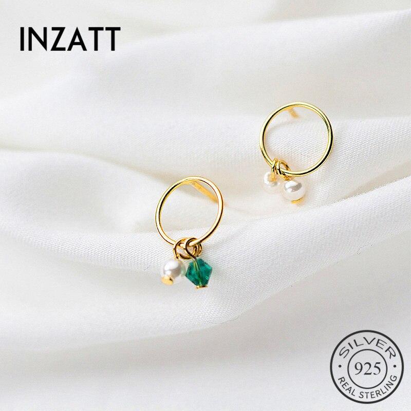 INZATT Asymmetry Romantic Pearl Green Crystal Dangle Drop Earrings Original 925 Sterling Silver Fine Jewelry Gold Color Gift