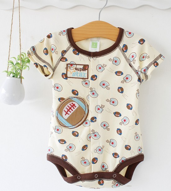 Cartoon short Sleeve Romper football printing Baby Wiggle-in Bodysuits Kids Cute Overalls Baby Cotton Jumpersuit