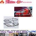 Chery Tiggo 5 2014 2015 2016 carrocería trasera trasera detector de luz de lámpara marco palo cubierta de cromo styling ABS parte 4 unids