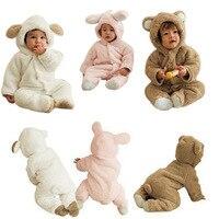 ทารกJumpsuitสัตว์รูปร่างผ้าเบาะฤดูหนาวRomperรวมกลุ่มฟุตแขนยาวเสื้อผ้าเด็กผู้ชายและ