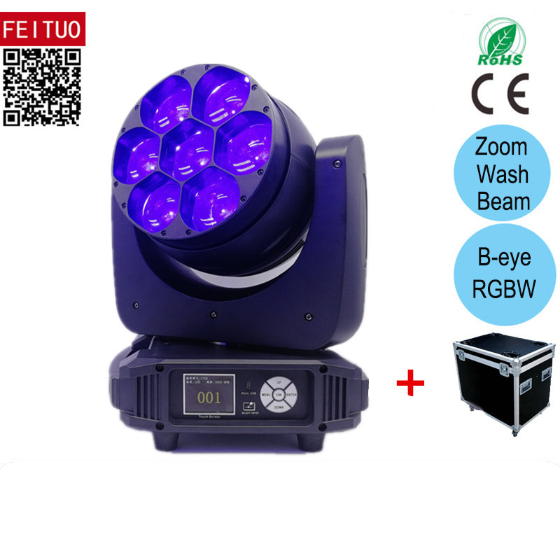 4pcs Flycase Powercon In And Out 7x40w Rgbw 4in1 Led Moving Head Bee Eye Zoom Wash Lyre Led Beam Moving Head Dmx Stage Dj Lights