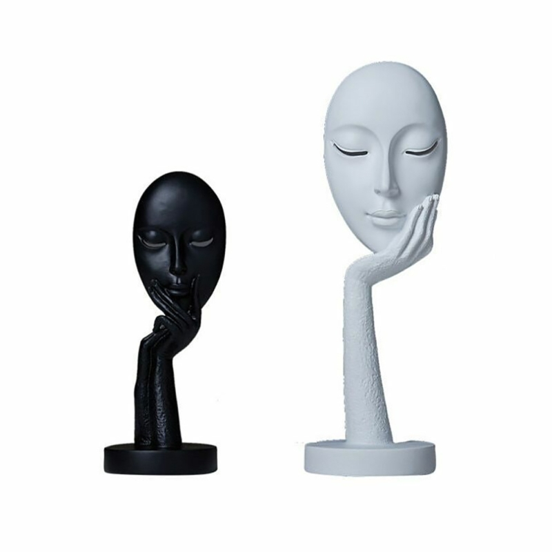 Nordic Style Resin Thinking Lady Face Statues Thinker Collectible Figurine Abstract Sculpture Home Office Tabletop Decorations