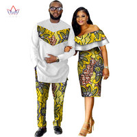 African Dashiki Print Couple Clothing for Lovers Two Piece Set Men's Suit Plus Women's Ruffle Sleeve Bodycon Dress 6XL WYQ62