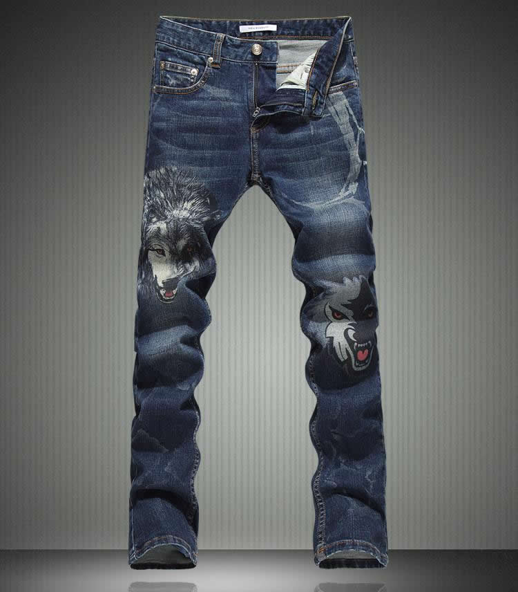 Hot sale  New Arrival Men Wolf Print Jeans Fashion Slim Long Trousers