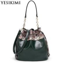 YESIKIMI Women Bucket Bags Snake Leather Patchwork Shoulder bags Soft PU Leather Fashion Lady Bolsos