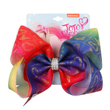 8 Bronzing Party Bows Rainbow Printed Colorful Bow-knot Grosgrain Ribbon Hairpins Hair Accessories For Girl