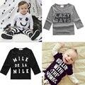 2016 новая мода новорожденных девочек хлопок футболки Девушки Лето Письмо Печати Топы С Длинным рукавом Футболки Одежда