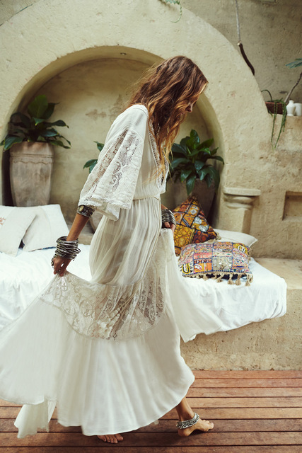 Bohemian Batwing Sleeve Maxi Dress