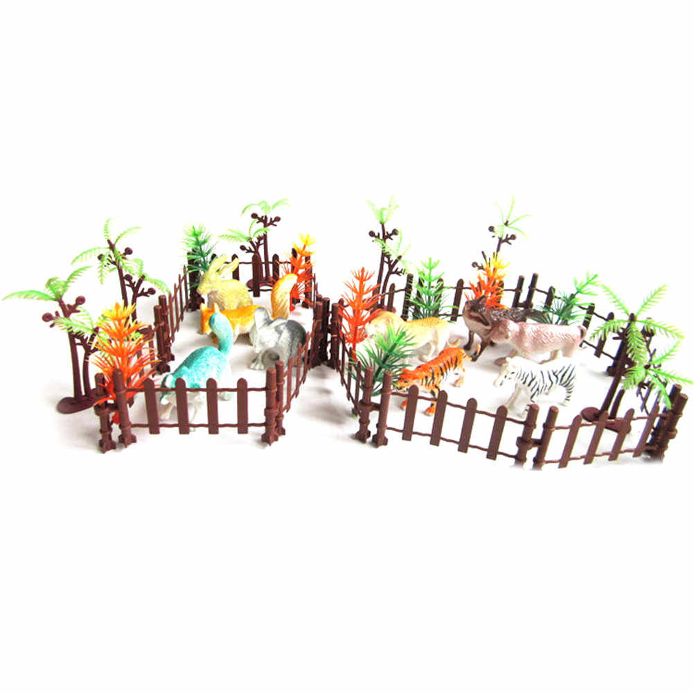 36 unids/set que contiene varios tipos de juguetes de animales de cerca para chico pequeños animales de plástico de simulación de zoológico