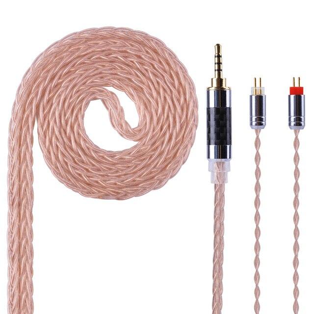 Yinyoo 8 núcleo de cobre Chapado en plata equilibrado Cable 2,5/3,5/4,4mm con MMCX/2pin conector para LZ A5 KZ AS10 ZS10 ZST ES4 ZS6