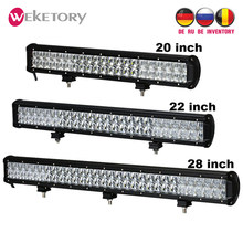weketory 5D 20 22 28 inch 210W 240W 300W LED Work Light Bar for Tractor Boat OffRoad 4WD 4x4 Truck SUV ATV Combo Beam(China)