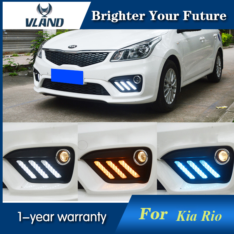 2pcs Auto Front LED Daytime Running Light White For kia RIO K2 2016 2017 LED DRL daytime running light with Turning Signal Light 2pcs 30cm drl 12v 3colors white blue red flexible soft tears strip daytime running light with yellow turning signal light