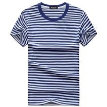 Blue and white Striped Mens T-shirt 2019 Korean style Summer Retro Navy T-shirts Leisure vacation Tshirt Cotton Tee Shirts S-5XL
