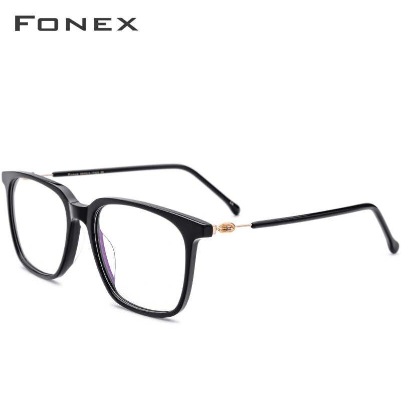 Armação de óculos de acetato, unissex, prescrição, óculos de grau, miopia quadrada, sem parafusos, 5203