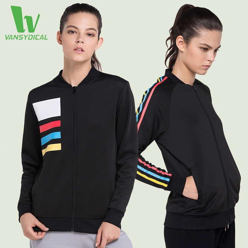 ФОТО VANSYDICAL Women's Yoga Shirts Long Sleeve Running T-Shirts With Zipper Tops Gym Fitness Workout Sports Clothing