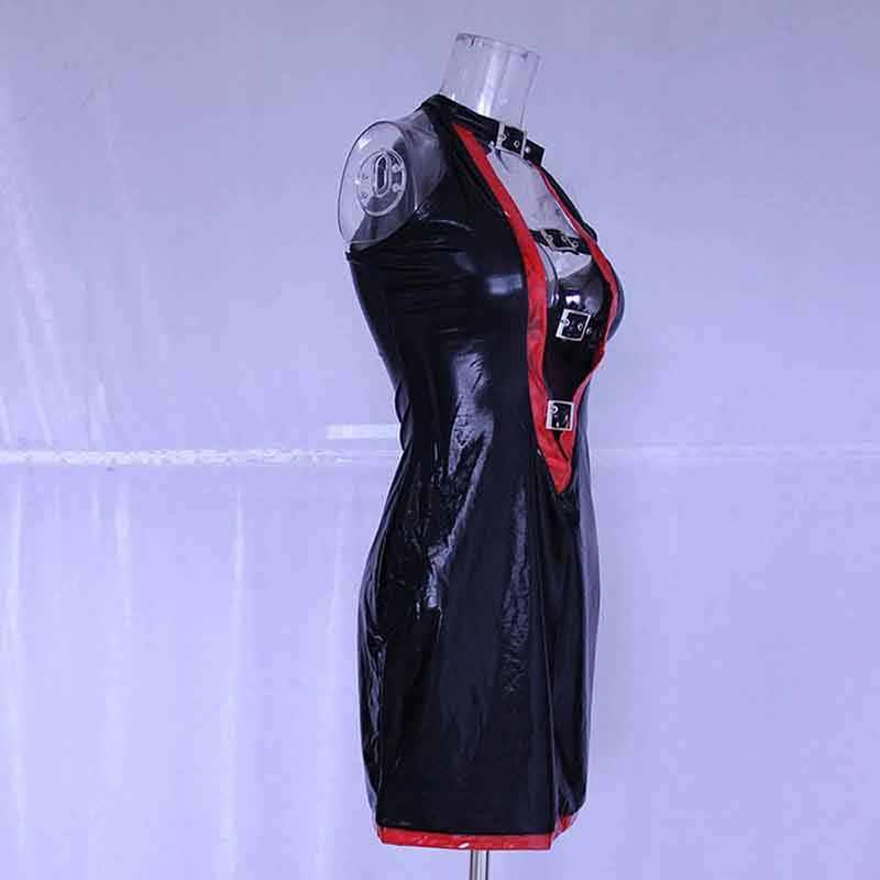 Sexy Aushöhlen Wetlook Vinyl Leder Kleid Mode Schnalle Clouser Sleeveless Pole Dance Mini Kleider Frauen Party Nacht Clubwear