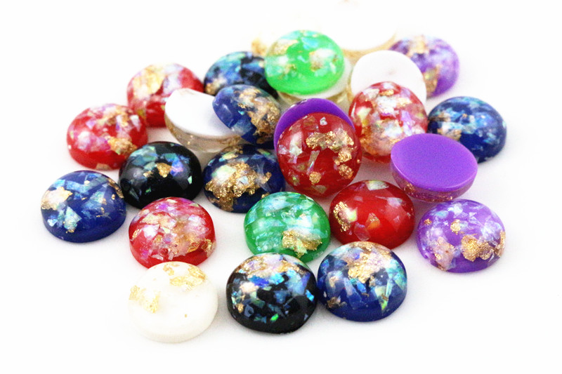 New Fashion 40pcs 12mm Mix Colors Built-in metal foil Flat back Resin Cabochons CameoNew Fashion 40pcs 12mm Mix Colors Built-in metal foil Flat back Resin Cabochons Cameo