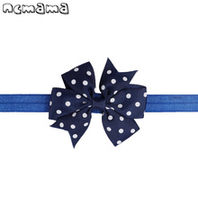 1 Pcs Newborn Solid Headband For Kids Handmade Dots Printed Hair Bow Soft Polyester Fine Hairband Accessories