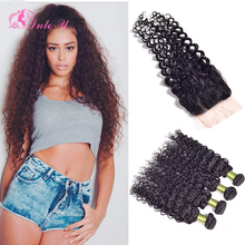 Brazilian Water Wave With Silk Base Closure Cheap Water Wave Virgin Hair 4 Bundles With Closure Mink Brazilian Hair Silk Closure