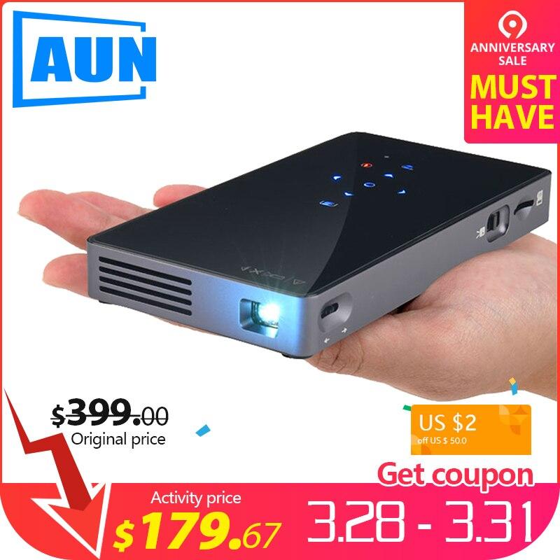 AUN Smart Projektor D5S, Android 7.1 (Optional 2G + 32G) WIFI, Bluetooth, Batterie, HD in, Tragbare Mini Projektor, 3D Beamer