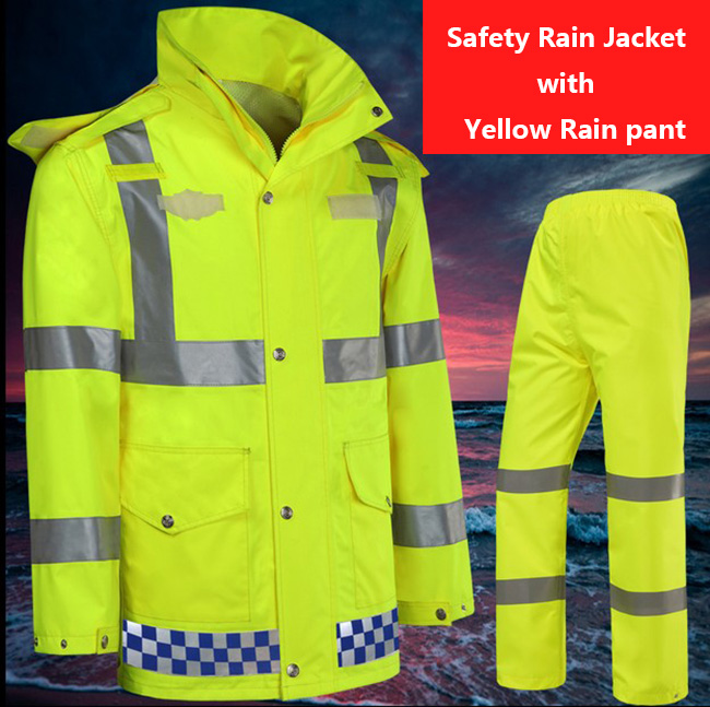 Hi vis workwear EN471 waterproof windproof breathable safety reflective rain suit rain jacket rain pant free shipping new high visibility fashion rainwear rain suit reflective jacket waterproof trousers safety clothing workwear free shipping