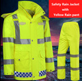 Hi vis workwear EN471 waterproof windproof breathable safety reflevtive rain suit rain jacket rain pant free shipping