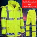 Oi vis segurança workwear EN471 à prova d' água à prova de vento respirável reflevtive terno da chuva capa de chuva chuva pant frete grátis