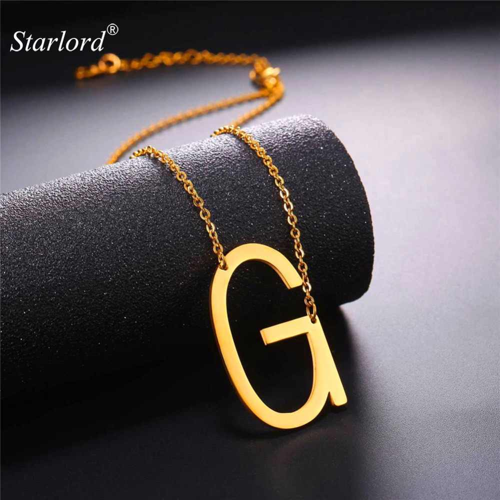 Starlord Letter G Pendants&Necklaces For Women Men Stainless Steel Necklace Fashion Personalized Gift Alphabet Jewelry GP2607