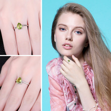 Natural Green Peridot Gemstone in 925 Sterling Silver Ring
