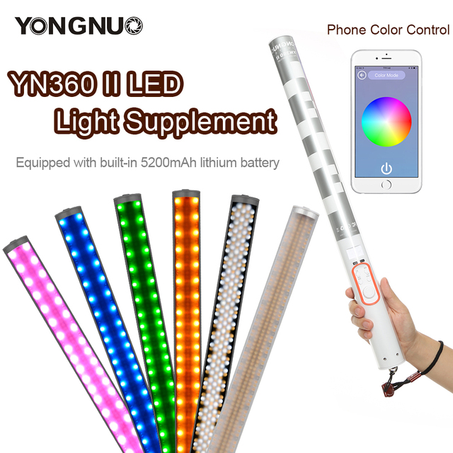 Yongnuo YN360 YN360 II มือถือ Ice Stick LED Light ในตัวแบตเตอรี่ 3200k ถึง 5500k RGB สีสันควบคุมโดย App โทรศัพท์