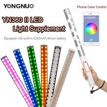 Yongnuo yn360ii yn360 ii 3200 k 5500 k 가변 rbg 다채로운 핸드 헬드 led 비디오 라이트 내장 5200 mah 리튬 배터리