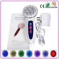 Free Shipping Home Use Ultrasonic High Frequency Led Light Photon Ion Facial Massager For Women