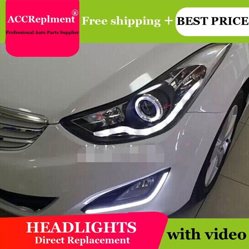AUTO. PRO pour Hyundai elantra phares 2012-15 lumière LED guide DRL + Q5 bi xénon lentille + angel eyes pour Hyundai elantra voiture style
