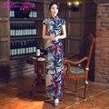 Traditional Chinese Dress Elegant Short Sleeve Side Split Bodycon Women Cheongsams Ankle Length S/M/L/XL Printed Qipao Q602