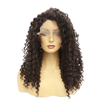 Lace Front Synthetic Wigs For Women Long Kinky Curly Soft Ombre Wig With Dark Roots Wavy Heat Resistant Fiber Hair Extension
