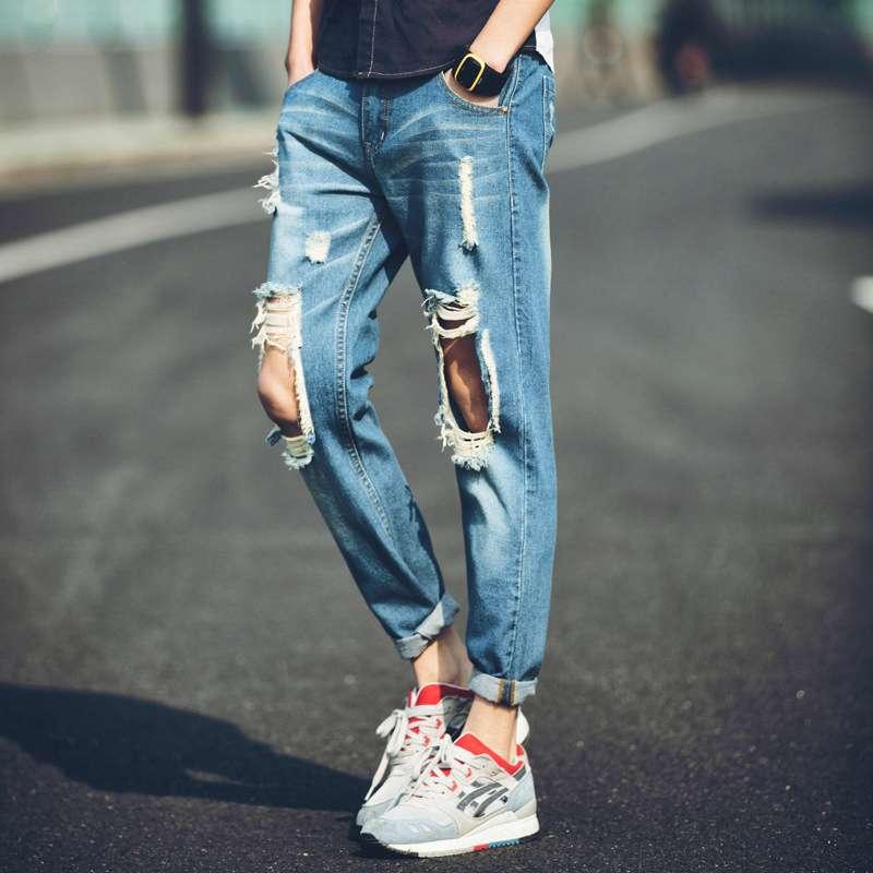 #1416 Mens ripped jeans Fashion Sarouel jeans Ankle pencil jeans masculino Mens biker jeans Slim Distressed Slim Jogger pants