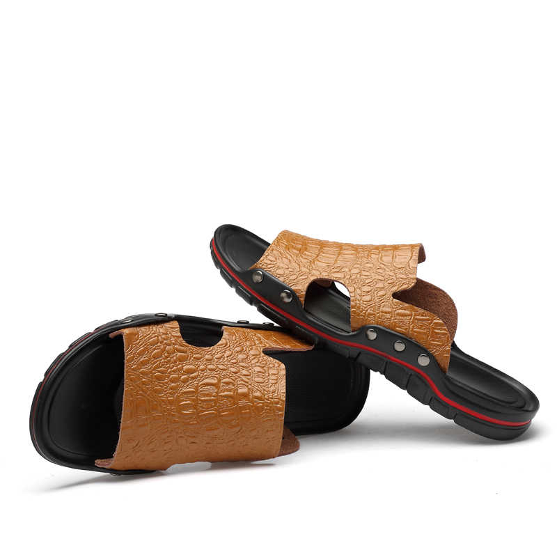 Hakiki deri terlik erkekler yaz sandalet nefes marka tasarımcı şık ayakkabı gerçek deri sahil plaj daireler