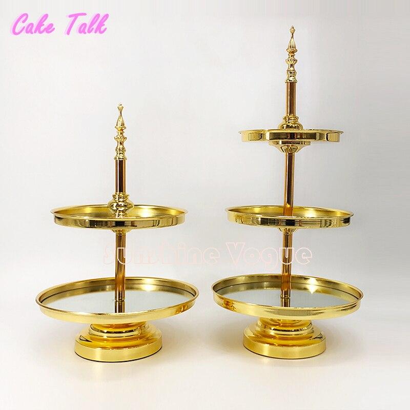 2/3 niveaux Or Miroir cupcake stand Galvanoplastie Métal Grand design pour le mariage partie de dessert gâteau décoration de table